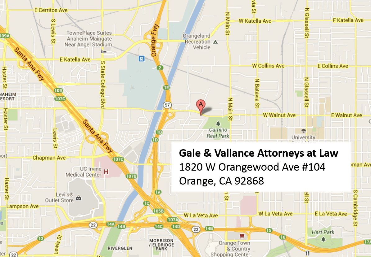Gale and Vallance California Attorneys Orange County Location